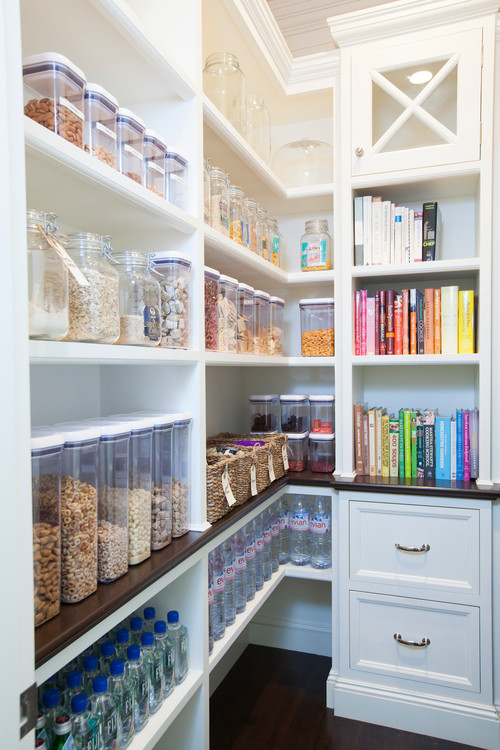 Immaculate Pantry With Containers For Organization.  Everything Labeled And In Order.