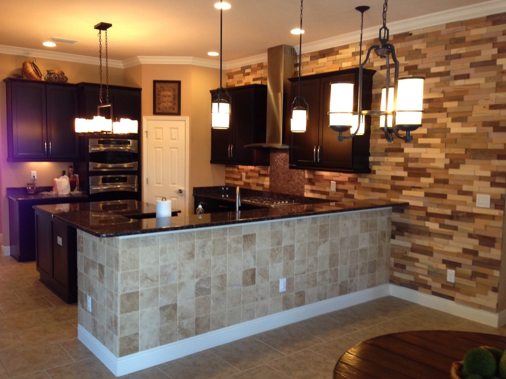 kitchen remodel wood accent wall