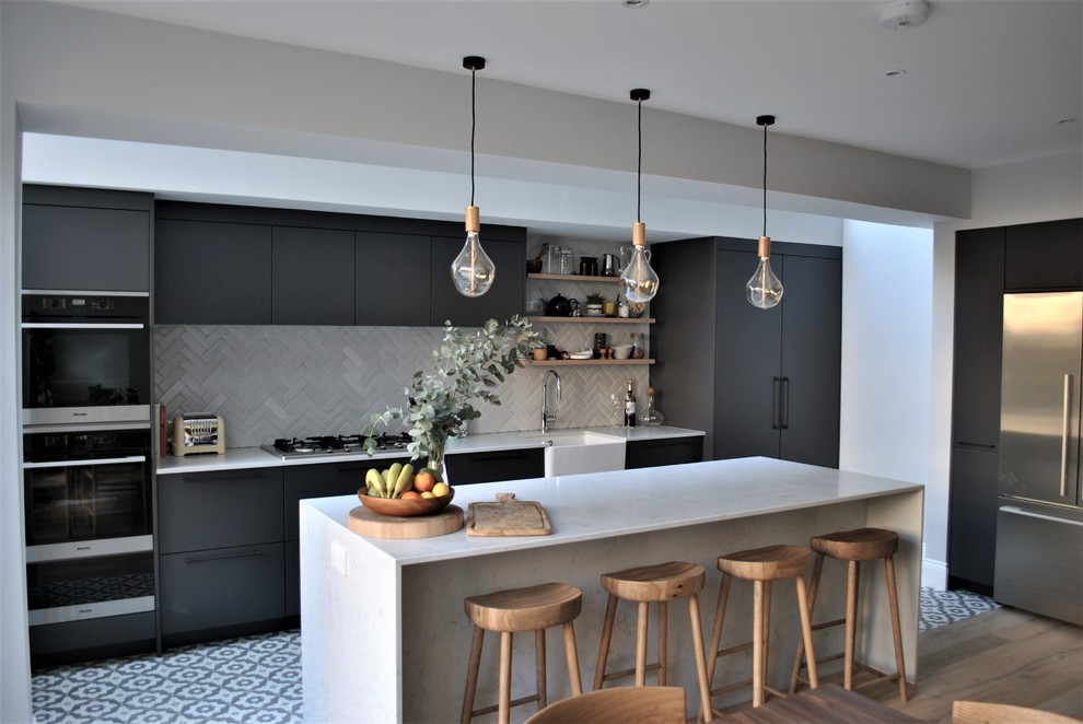 Modern Dark Grey Kitchen With Black Handles Contemporary Kitchen London By Eclectic Interiors