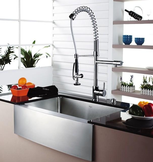 modern industrial kitchen sink and