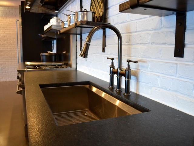 modern industrial kitchen sink detail