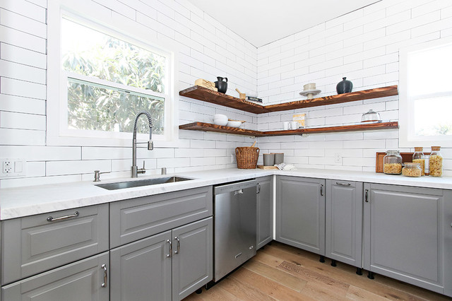 open shelving white subway tile with