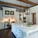 Dark Cabinets With White Island Kitchen Ideas Photos Houzz