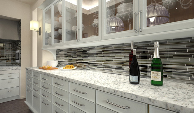 starry night linear mosaic tile kitchen