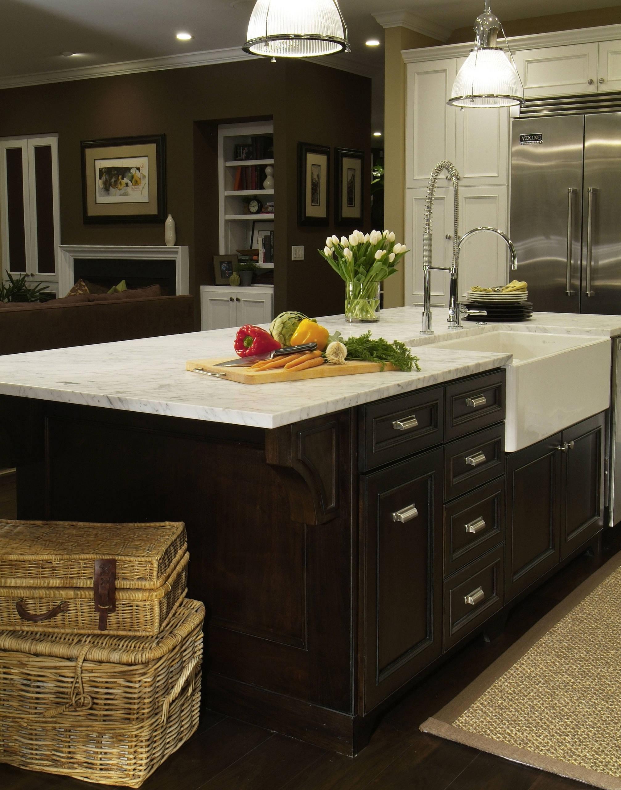 traditional dark wood kitchen island