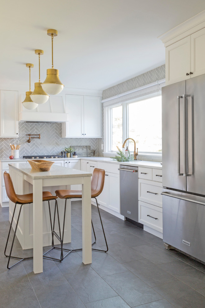 traditional grey herringbone kitchen