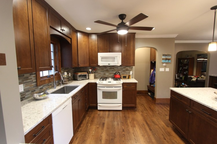 Transitional Kitchen With Cherry Cabinets Quartz Countertops Mosaic Backsplash Transitional Kitchen Cleveland By Cabinet S Top