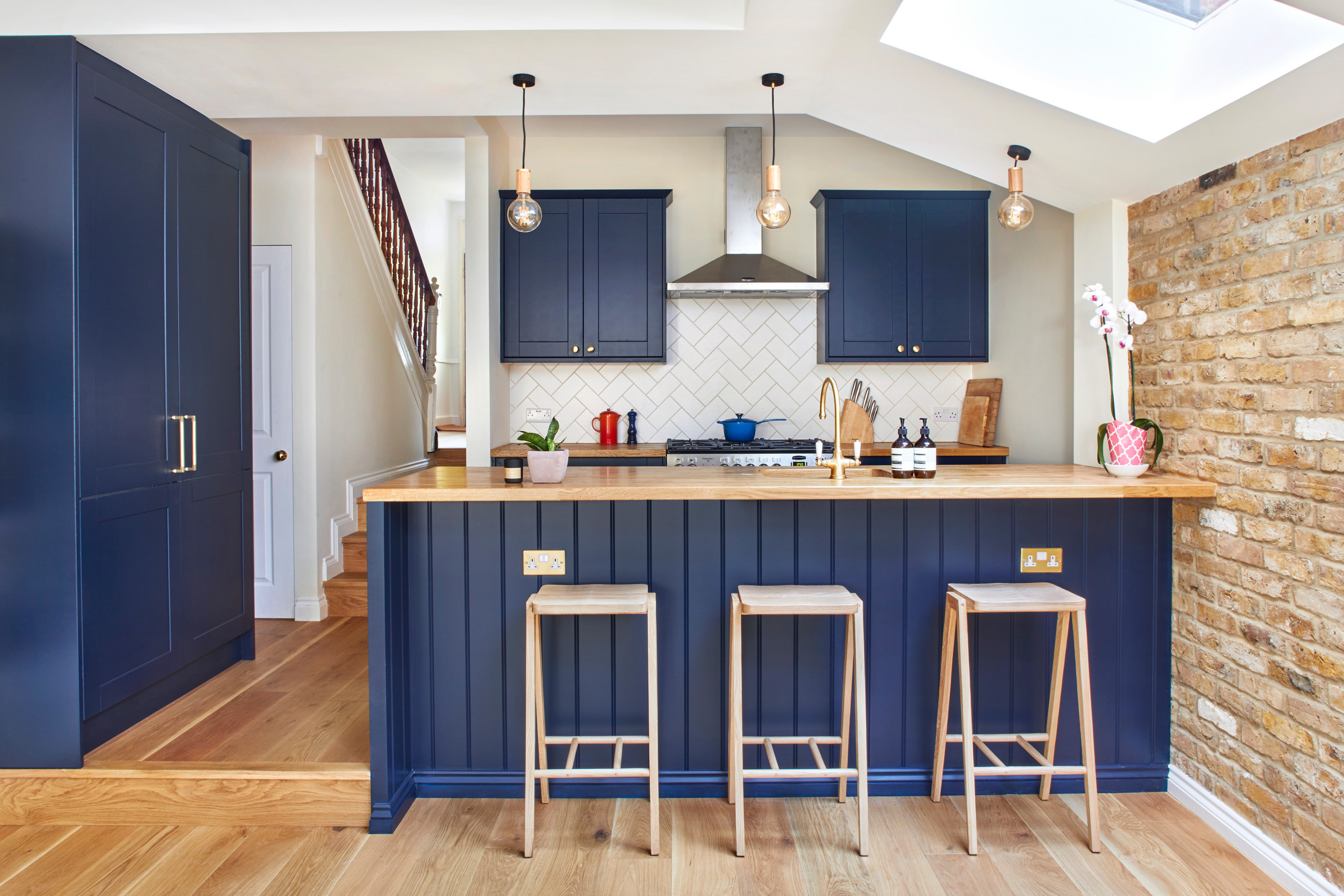 hang pendant lights from a sloping