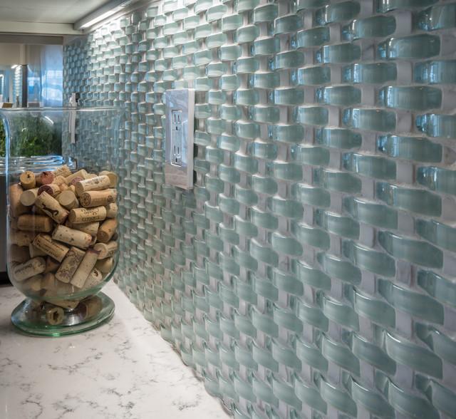 wavy glass mosaic backsplash