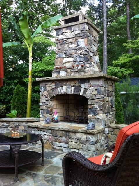 outdoor stone fireplace kit klassisch