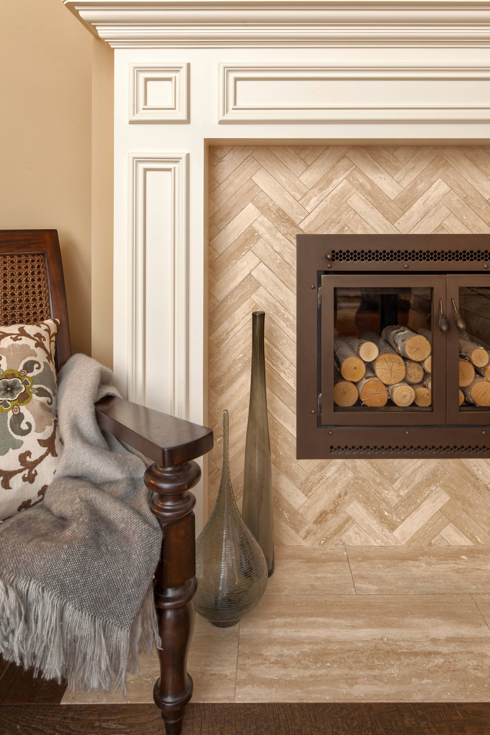 herringbone tile fireplace houzz