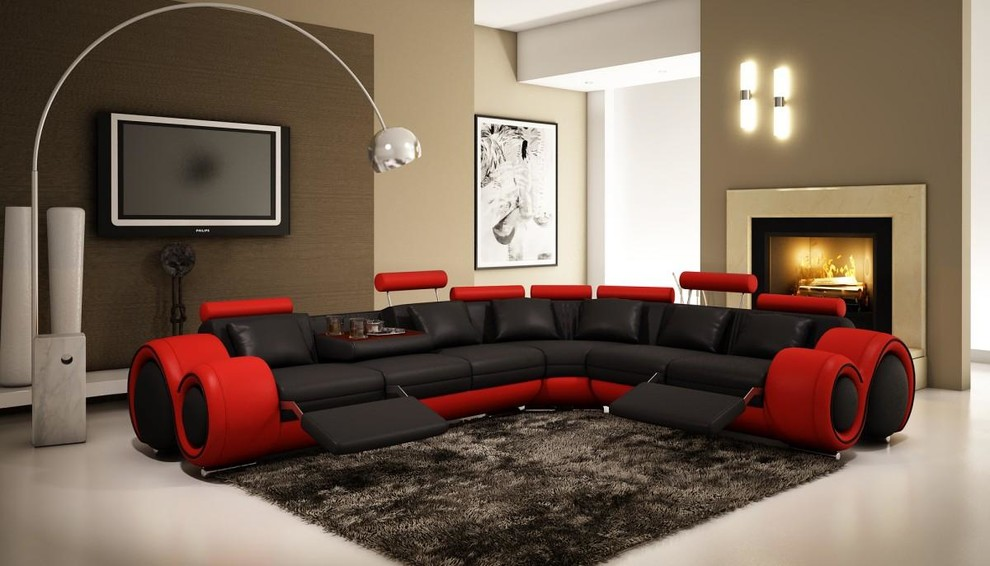 black and red sectional sofa with