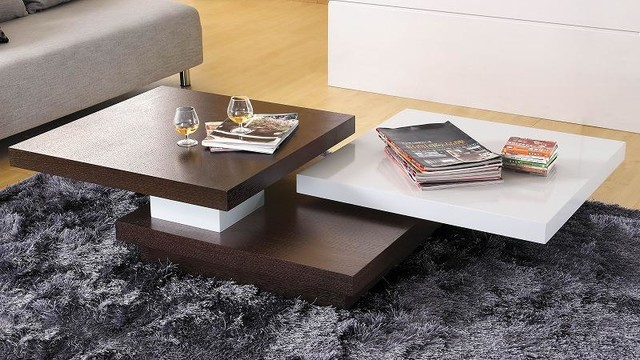 brown and white coffee table can be