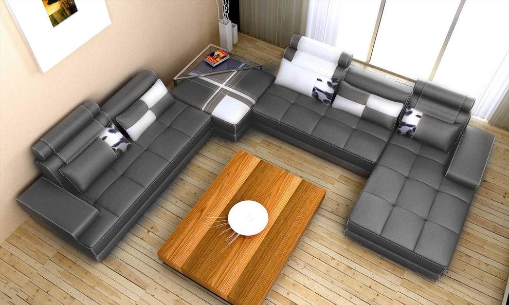 gray leather sectional sofa modern