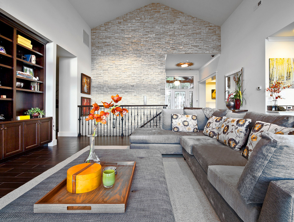 kirkland custom living room with stone