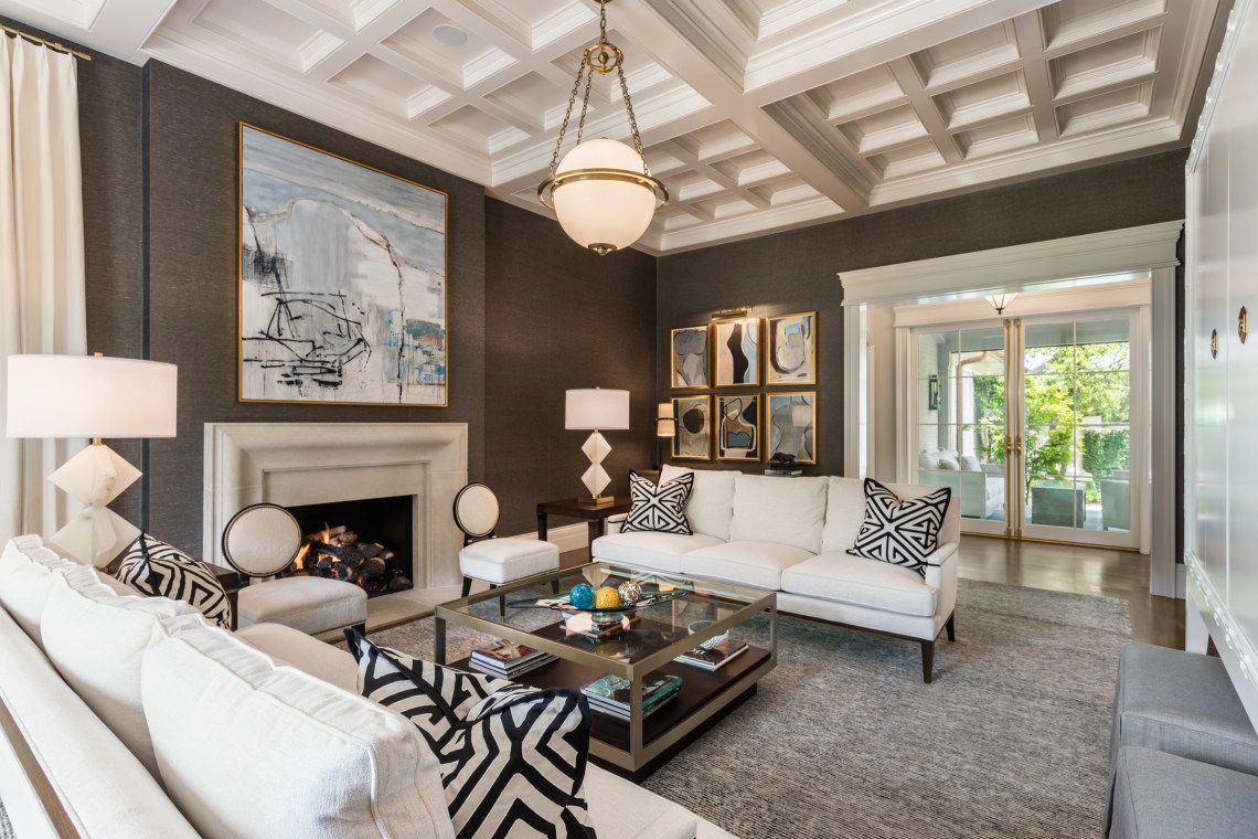 75 Beautiful Transitional Living Room With Brown Walls Pictures Ideas July 2021 Houzz