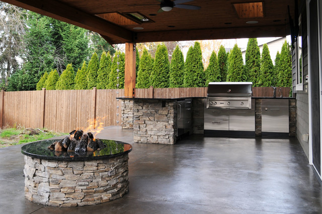 covered patio firepit craftsman