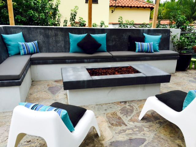 custom cushions for built in concrete