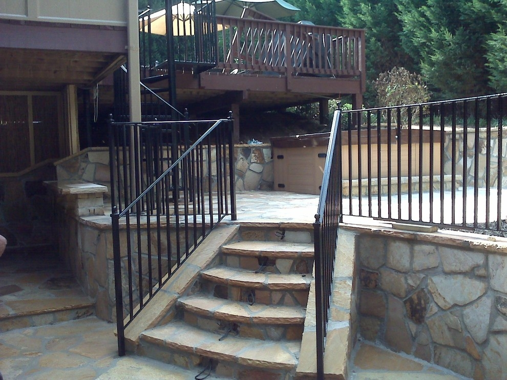 Exterior Wrought Iron Handrail Railing Mediterranean Patio | Exterior Wrought Iron Railing Cost | Ironwork | Fence | Stainless Steel | Balcony Railing | Handrails