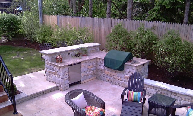 fireplace built in grill with bar