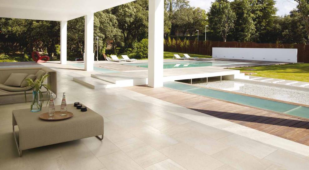modern indoor outdoor patio pool area