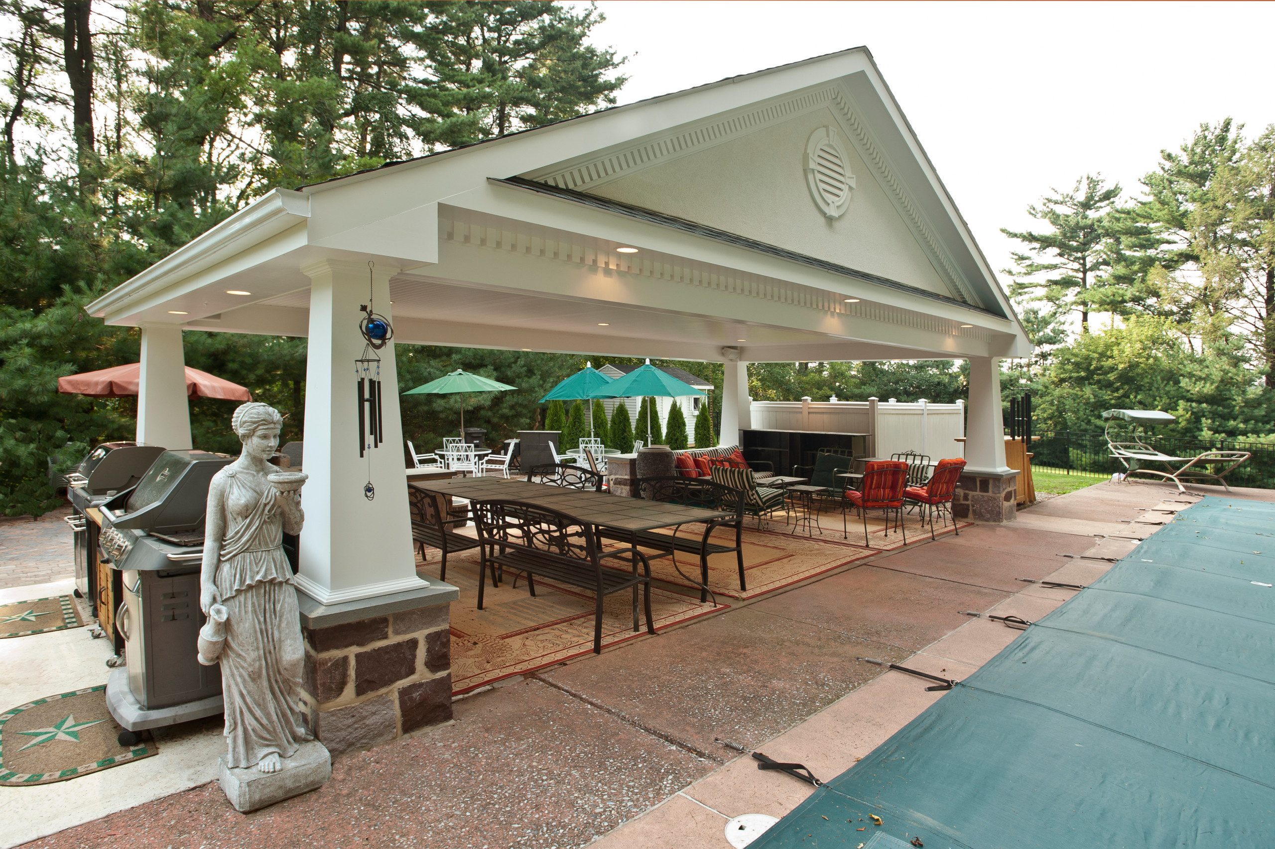 covered patio with pool houzz