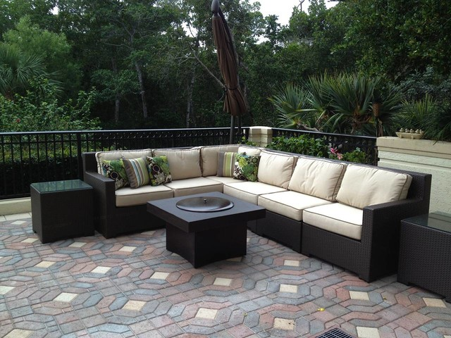 outdoor sofa set with gas fire pit