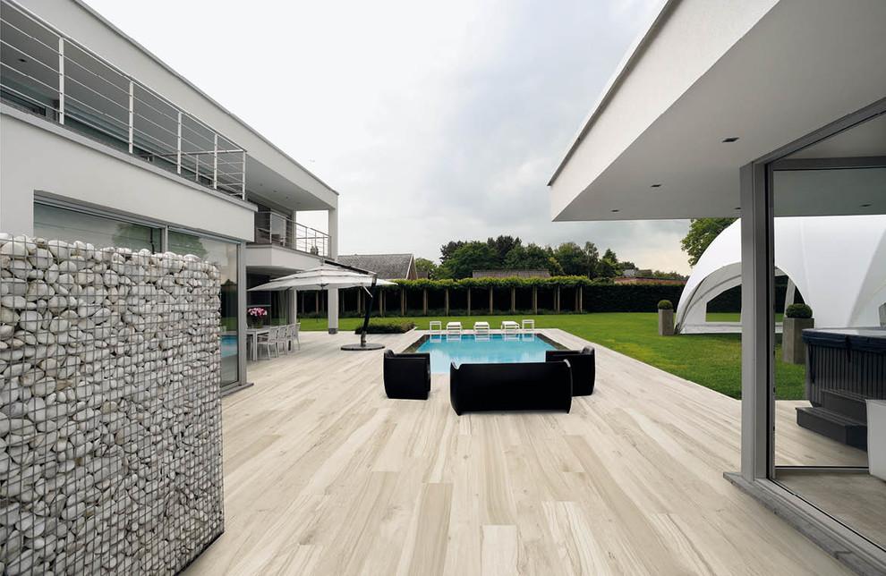 wood look tile patio dallas by
