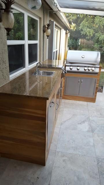 wood look tile outdoor bbq kitchen