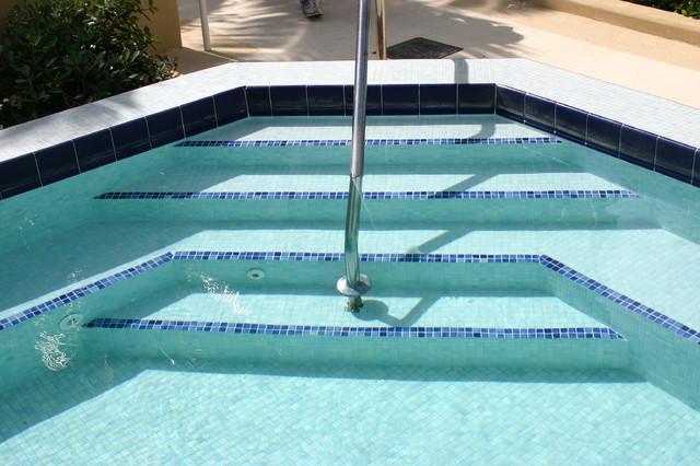 glass tile spa steps traditional