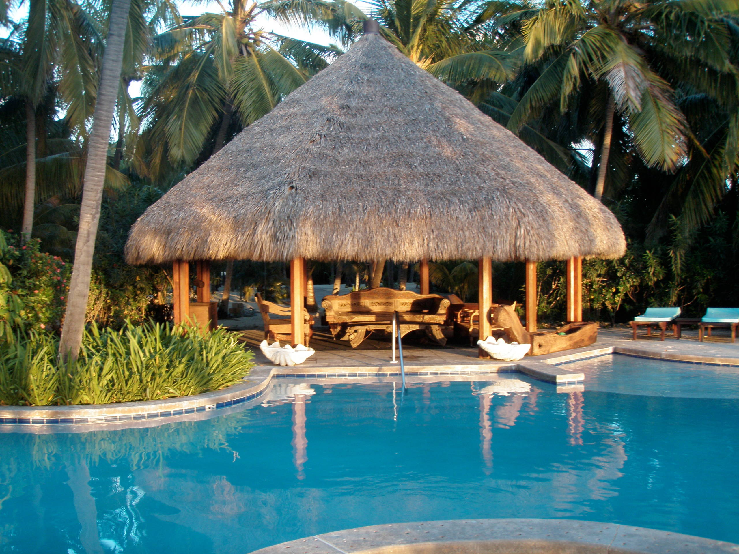 resort lifestyle with a grass hut