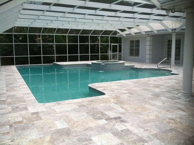 pool deck with silver tumbled french