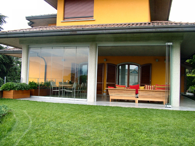 patio closed off with folding glass