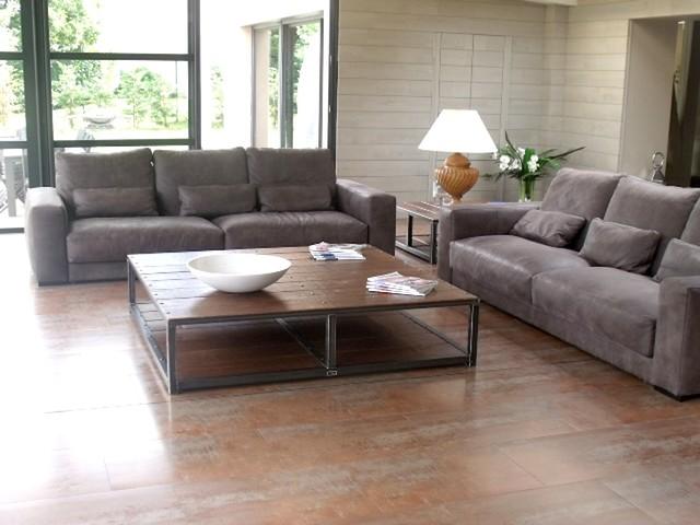 salon au style industriel bois metal