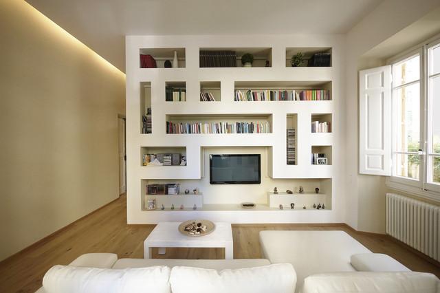 Le strutture in cartongesso, infatti, possono assumere forme e dimensioni capaci di adattarsi a qualsiasi esigenza, in particolare in spazi come quello del soggiorno, perché una parete attrezzata in cartongesso può arredare un'intera parete. Moderno Minimale 100 Mq Modern Living Room Milan By Jfd Juri Favilli Design Houzz