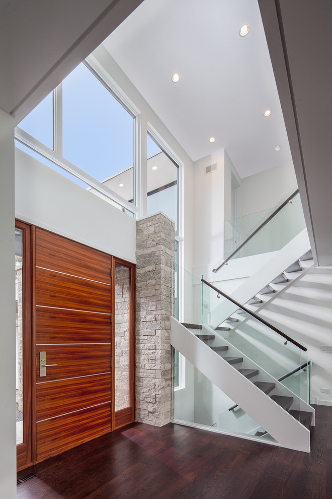 2 Story Foyer With Glass And Wood Staircase And African Mahogany   African Mahogany Stair Treads   Dolphin   Stair Parts   Hardwood Lumber   Sapele   Floor