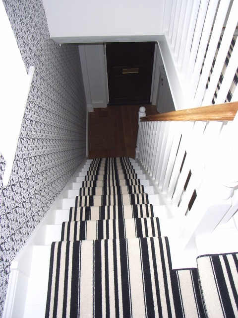 Black And White Stair Carpet Runner Contemporary Staircase   Black And White Carpet Stairs   Victorian   Striped   Geometric   Low Cost Simple   Unusual