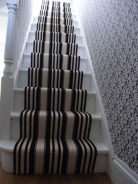 Black And White Striped Stair Carpet Runner Contemporary | Black And White Stair Carpet | Interior Design | Light Grey | Unusual | Design | Beautiful