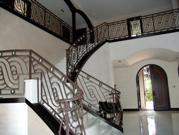 Contemporary Wrought Iron Railings Houzz | Modern Outdoor Stair Railing | Front Door | Outer | Cool | House | Craftsman Style