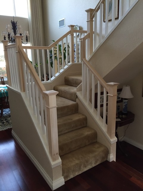Craftsman Style Stair Railing Craftsman Staircase San Diego   Mission Style Stair Railing   Modern   Metal Picket   Decorative Glass   Staircase   Bannister