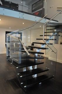 Double Winder With Glass Modern Staircase Calgary By | Double Winder Staircase Design | Handrail | Attic | Bespoke Staircase | Medium Oak | Small Space