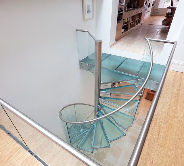 Glass Spiral Staircase Contemporary Staircase Toronto By   Spiral Staircase With Glass Railing   Metal   Residential   In India Staircase   Contemporary Glass   Thin Glass