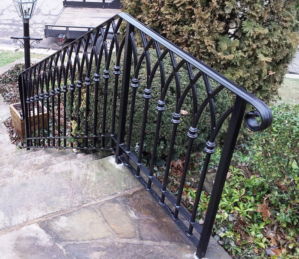 Gothic Arch Custom Forged Steel Railing Traditional Staircase | Heritage Stair And Railing | Balcony Railing Design
