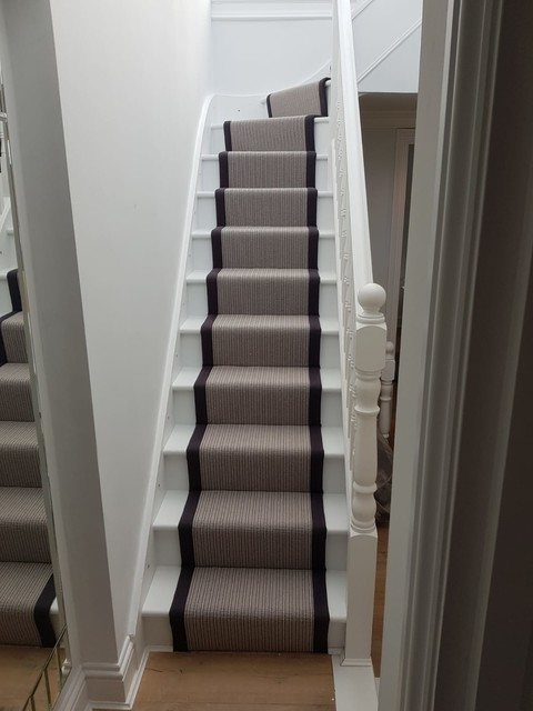 Grey Carpet Runner To Stairs In Battersea Contemporary | Zig Zag Carpet On Stairs | American Style | Asymmetric Stair | Before And After | Navy Pattern | Grey