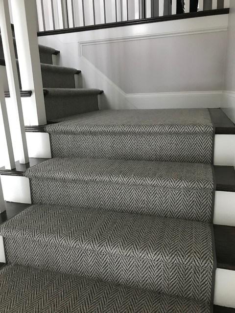 Grey Herringbone On Dark Stairs Hollywood Style Staircase   Grey Herringbone Carpet Stairs   Living Room   Flat Weave   Hartley   Patterned   Modern