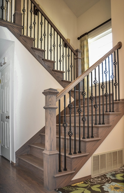 Hardwood Flooring Traditional Red Oak With Classic Grey Stain   Red Oak Stair Railing   Inside   2 Tone   Beautiful   Color   Two Toned