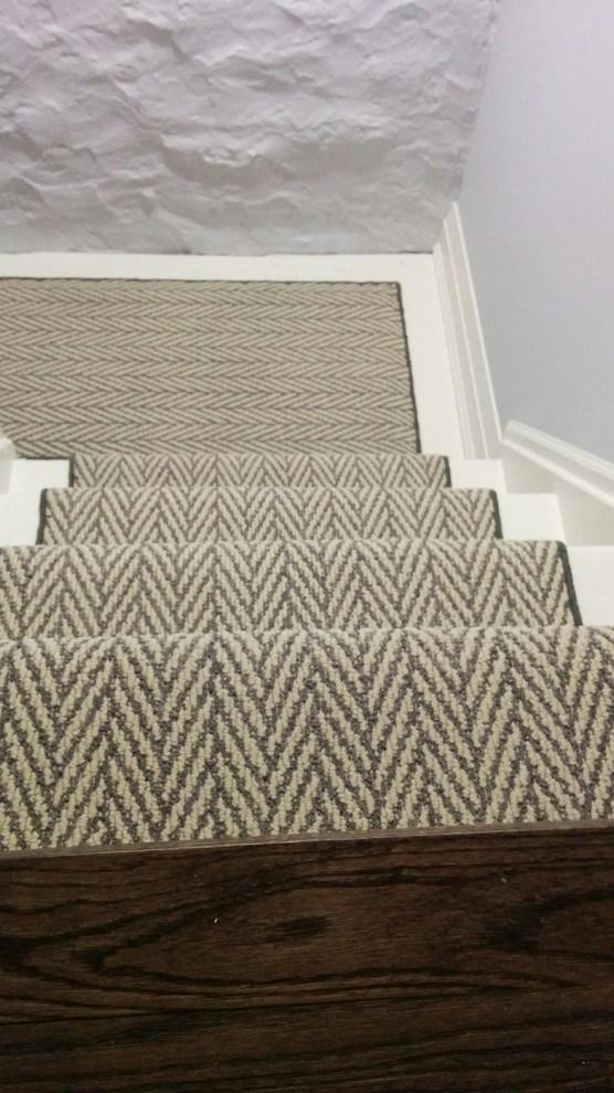 Herringbone Design Stair Carpet Runner Modern Staircase   Grey Herringbone Carpet Stairs   Living Room   Flat Weave   Hartley   Patterned   Modern