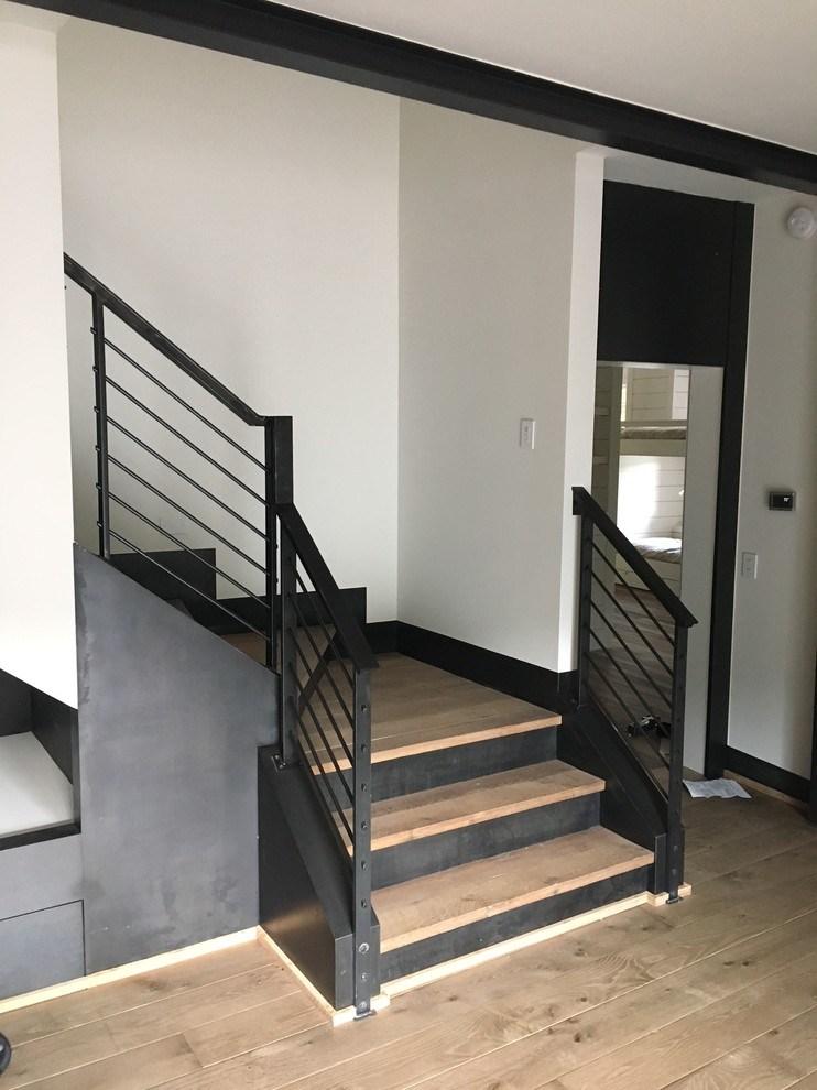 Interior Black Modern Railing Modern Staircase Columbus By | Black Modern Stair Railing | Glass | Raised Ranch | Minimalist | Interior | Chris Loves