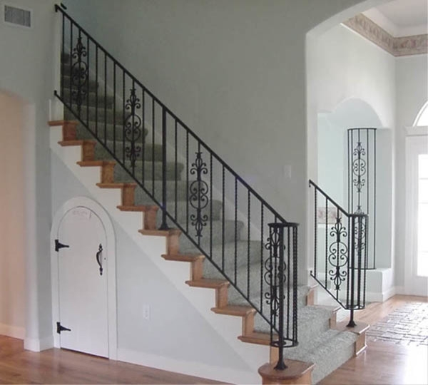 Interior Wrought Iron Stair Rail And Column Cover With Lateral | Wrought Iron Stair Railing Near Me | Steel | Spindles | Wood | Front Porch Railings | Stair Spindles