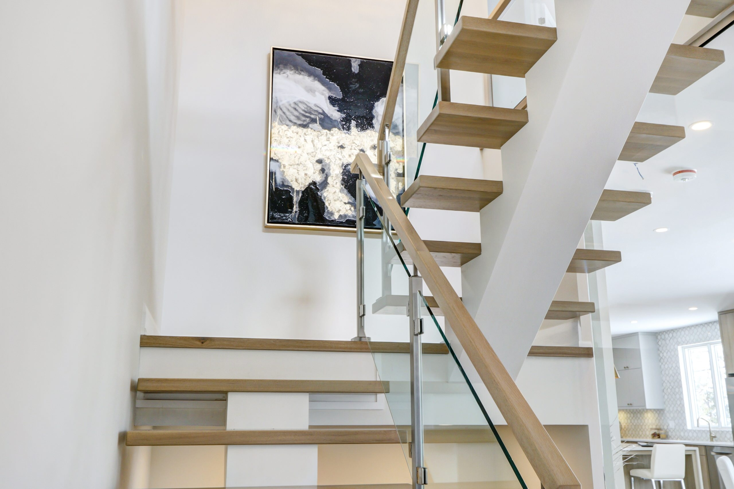 2Nd Floor Landing Staircase Photos Houzz   Stairs To Second Floor Design   Bathroom Next   Space Saving   Square Shaped   Kitchen   Stairway